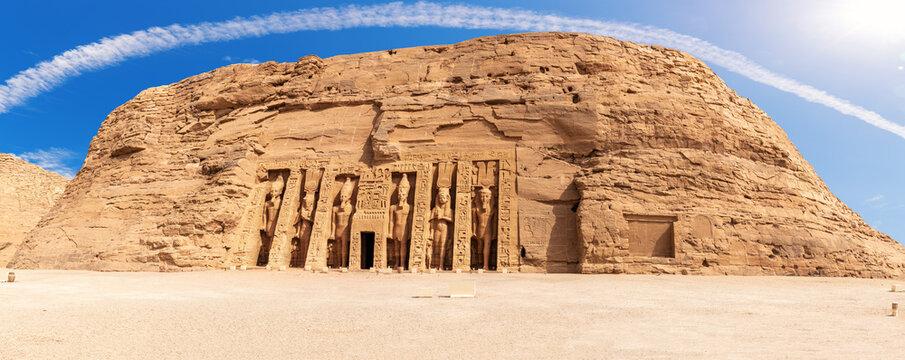 Nefertiti Temple panorama, ancient city Abu Simbel, Egypt