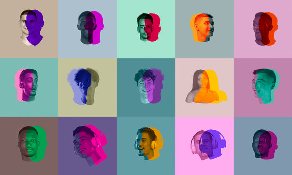 Artwork. Set, collage of young men's faces, heads with colored silhouette, shadow isolated on light background. Human emotion, split personality, mental problems concept.