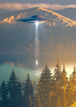 ufo flying over a lake in mountains with an abducted glowing alien near a forest of fir - concept art - 3D rendering