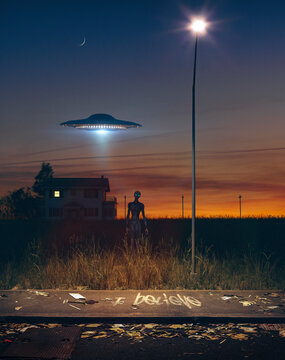 Alien walking through a field in the night with a ufo flying over a dark house and a lamplighter - concept art - 3D rendering