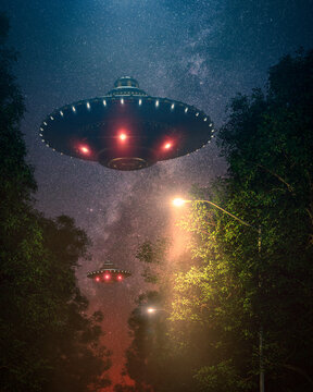 two ufo flying over trees on a summer night at lamplighter light with shiny stars - concept art - 3D rendering