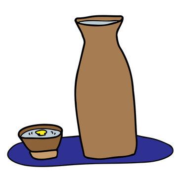 月見酒(お猪口の酒に映る月)のイラスト