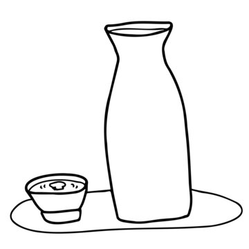 月見酒(お猪口の酒に映る月)の線画イラスト