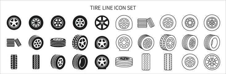 Fototapeta Icon set related to car tires obraz