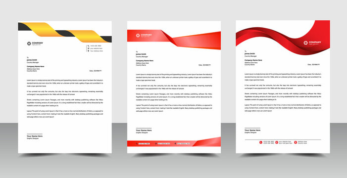 Simple business letterhead design set  Modern stationery pack with bundle template vector