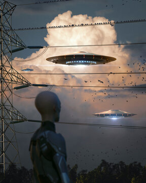 Alien watching ufo flying in gorgeous clouds through high voltage cables and birds - Vertical - concept art - 3D rendering
