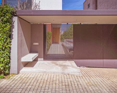 modern design house external entrance door, Athens Greece
