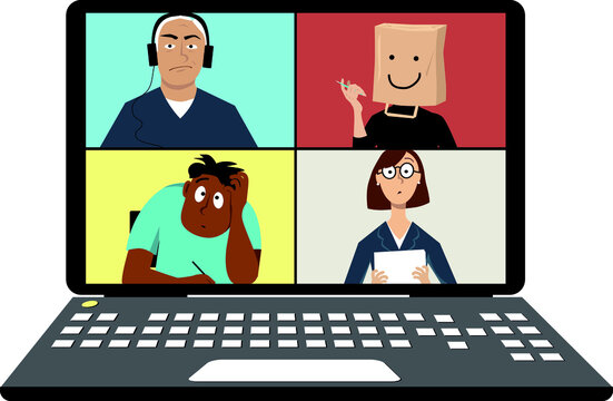Person, affected by zoom dysmorphia, conducting a video conference with co-workers, wearing a paper bag over her head, EPS 8 vector illustration