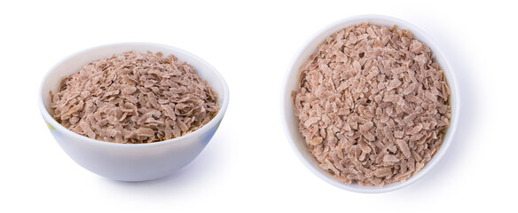set of flattened rice also known as parched or beaten rice in a bowl, parboiled and dried, flakes like rice commonly called poha or aval in indian subcontinent, taken from different angles on white