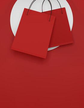red shopping bag on red background. sale banner design. 3d illustration