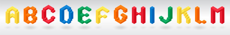 Fototapeta 3D construction alphabet letters from colorful brick block toy like Lego. Bricks font for children poster, banner, logo and advertising obraz