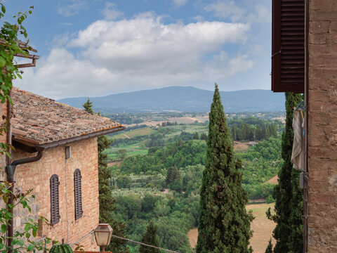 Rural Landscape seen from the Heights of the Medieval Town of the Medieval Tuscan Town of San Gimignano - Italy