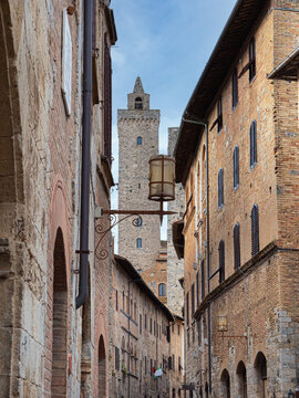 Details of Bell Towers and Brick Houses in San Gimignano in Tuscany, Siena - Italy