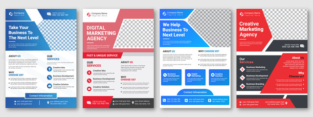 Corporate creative colorful business flyer template design set, abstract business flyer, vector template design or business poster template design