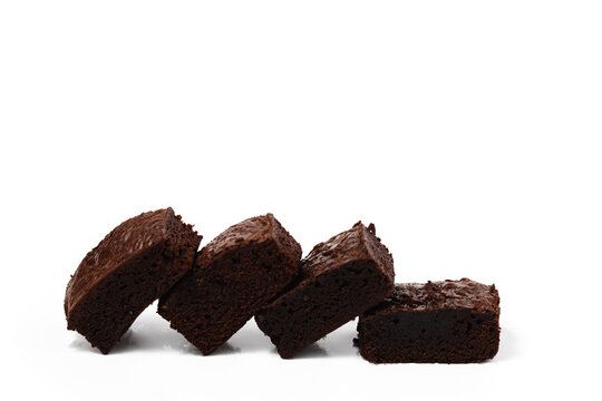 Brownies cake on white background for bakery, food and eating concept