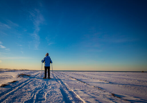 person snowshoeing in Prince Edward Island