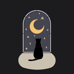 Samotny kot siedzący przy oknie, patrzący na wieczorne niebo, księżyc i gwiazdy. Nocna magiczna scena. Kocia sylwetka z półksiężycem w stylu boho. Urocza ilustracja wektorowa.