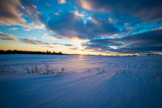 sunrise in the winter in Prince Edward Island