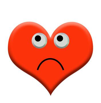 Rotes Herz mit Gesicht, schlechte Laune, 3D-Illustration
