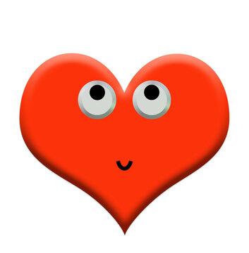 Herz mit Gesicht, 3D-Illustration