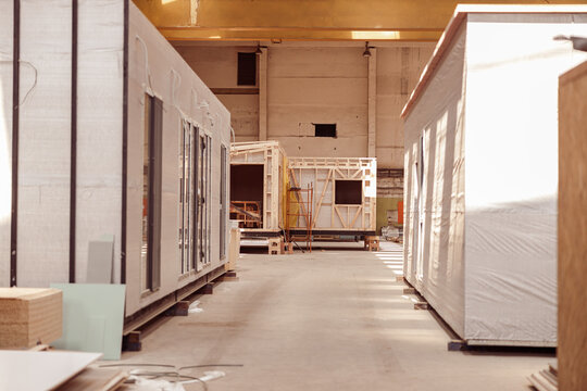 Prefabricated container houses in building under construction