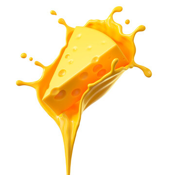 Cheese sauce splashing in the air with cheddar cheese