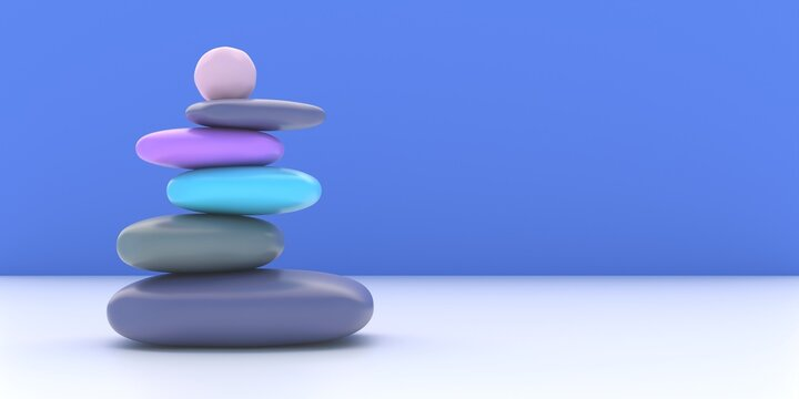 Zen stones, smooth pebbles pyramid stacked balance on blue wall background. 3d illustration