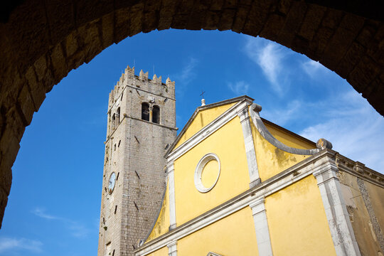 The bell tower vieved from the gate of Motovun city in Istria, Croatia
