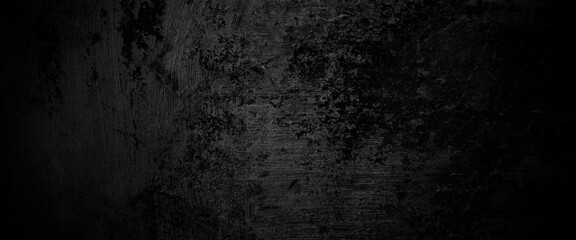 Obraz Scary on damaged grungy crack and broken concrete bricks wall and floor, black and white photo concept of horror and Halloween  - fototapety do salonu