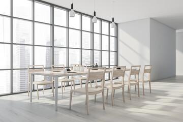 Modern panoramic white dining room. Corner view.
