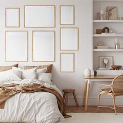 Friendly interior style. Bedroom room. Frame mockup. Poster mockup. 3d rendering, 3d illustration