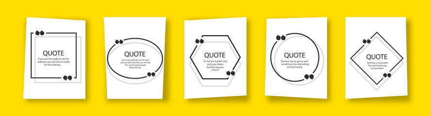 Quote in frame with quotation marks on yellow background. Bubble quote boxes with brackets. Banners for quotation. Isolated text box for comment and message. Vector illustration.