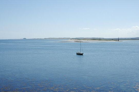 view over bay at Lindisfarne towards Bamburgh