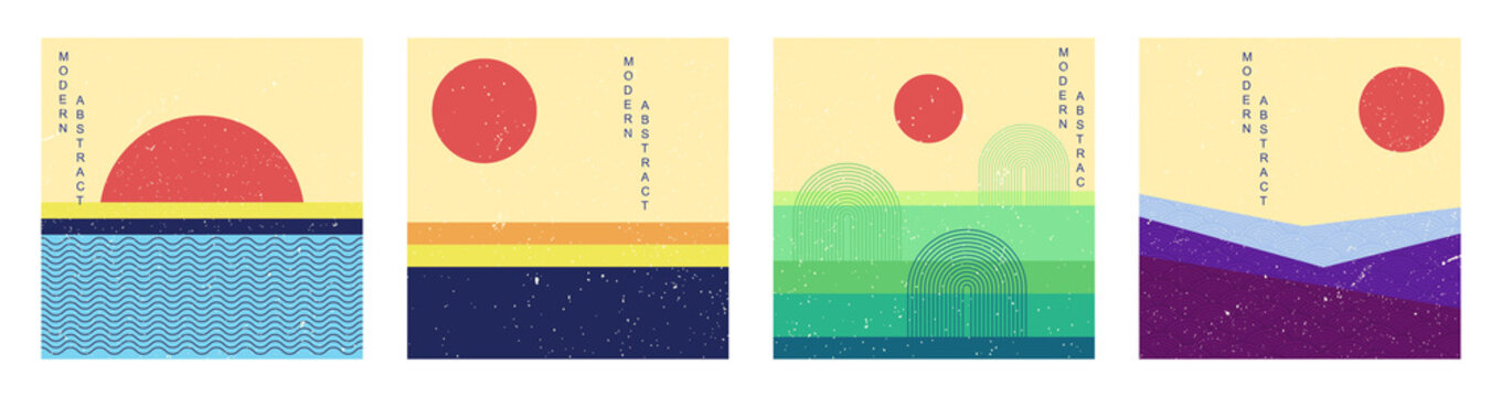 Minimalist landscape set. Collection of abstract modern posters with sun, sea and fields. Retro graphics for wall decoration and covers. Flat vector collage with texture isolated on white background
