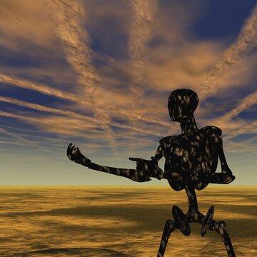 Cyborg in Empty Landscape