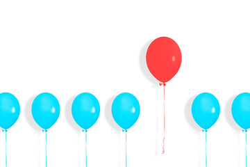 A row or line of blue balloons with one red in between. Pop art design, creative festive concept. Standing out from crowd, individuality and difference concept. Copy space.