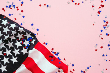 USA Veterans Day banner design. American flag and confetti on pink background. USA Independence Day, Memorial Day, US Labor day concept.