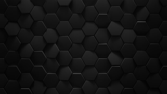Black hexagonal geometric background 3D rendering illustration