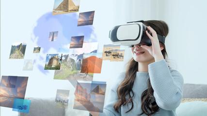 VRで旅行をする女性