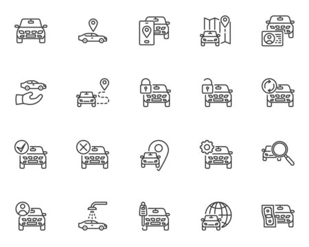 Car sharing service line icons set