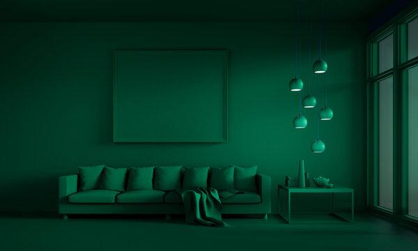 Green lounge room with sofa