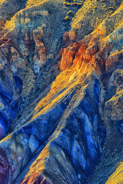 multicolored mountains, geological texture background, multicolor deposits of minerals, landscape