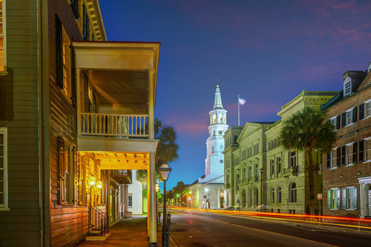 Historical downtown area of Charleston, South Carolina cityscape in USA