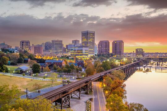 Richmond downtown city skyline cityscape in Virginia, USA