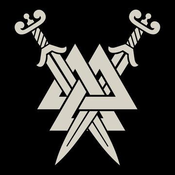 Old Norse, Viking design. Two crossed battle Viking swords