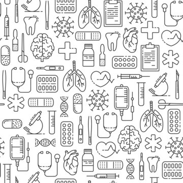 Seamless pattern with outline medical icons