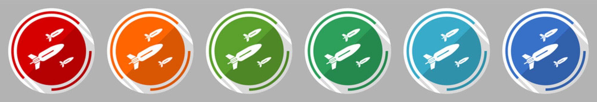 Missile, rocket, weapon, war icon set, vector illustration in 6 colors options for webdesign and mobile applications, flat design symbol