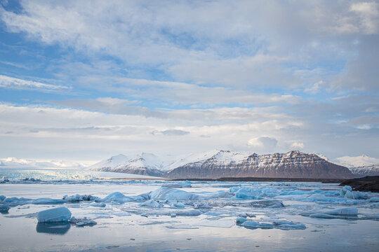 Beautiful view of Jokulsarlon glacial lagoon, Iceland