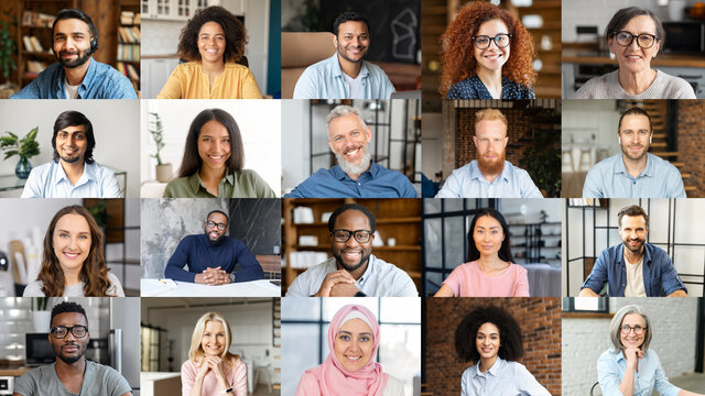 Conference call, shared screen, portraits of diverse employees. Crowded video screen, briefing, brainstorm, virtual meeting of multiracial work team, new online platform for video connection