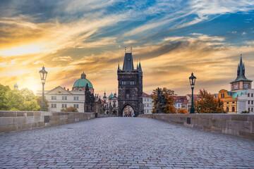 Obraz Prague Czech Republic, sunrise city skyline at Charles Bridge, Czechia with autumn foliage season - fototapety do salonu